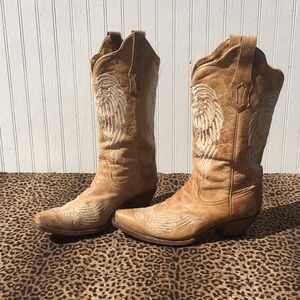 CORRAL wing boots size 8.5 light tan leather